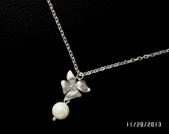 Sterling silver necklace, Beautiful orchid flower necklce for christmas gift, Bridsmaid gift,orchid jewelry,silver orchid necklace,