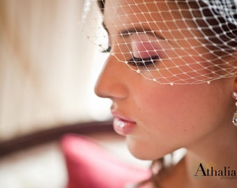 Bridal Birdcage Veil, Beaded Veil, Bandeau Veil, Wedding Veil, Bridal Birdcage Veil, Birdcage with Pearls