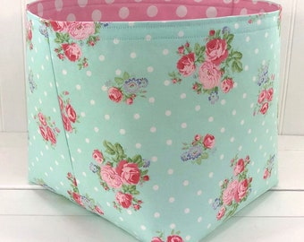 Storage Basket Shabby Chic Baby Girl Nursery Decor Home Decor Room Decor Baby Shower Gift Flowers Roses Mint Pink Floral -  Large 10 x 10