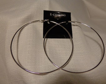 LARGE Hoop Earrings 4 inch Hoop Earrings SILVER Plated HOOP earrings