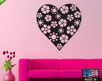 Heart Wall Decal Heart Sticker gold heart wall decals pink heart wall decals love heart wall decals floral heart Z124