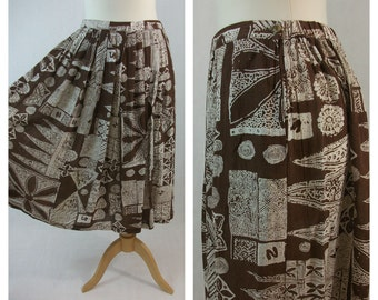 80s vintage midi print skirt. Brown and white. Size L.