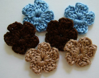 Crocheted Flowers - Blue, Brown and Tan Forget-Me-Nots - Cotton Flowers - Crocheted Flower Appliques - Crocheted Flowers Embellishments