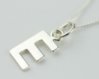 Solid Silver Letter Charm Necklace