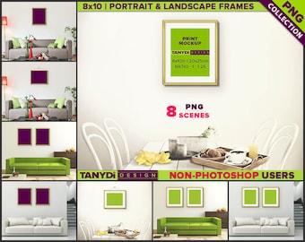 8x10 Fine Gold & Silver Frame | 8 PNG Interior Scenes 810-CW5 | Portrait Landscape | Set of 2 frames
