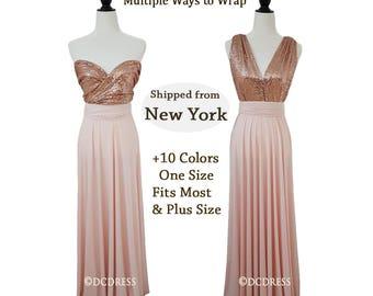 Plus Size Convertible Sequin Bridesmaid dress, Rose Gold Sequin bridesmaid dress, dusty rose dress, infinity sequin dresses , prom dress