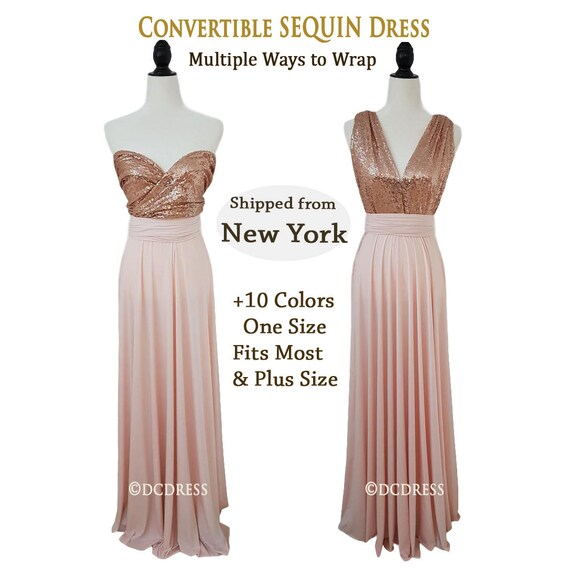 Plus Size Convertible Sequin Bridesmaid dress Rose Gold