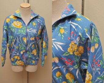 80s Blue Floral Jacket Womens Size Small