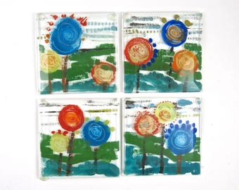 Hand Painted Fused Glass Coaster Set of Four, Abstract Flowers