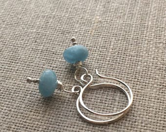 Genuine Aquamarine Sterling Silver Earrings. Smooth Aquamarine Rondelle Bead Earrings. Semiprecious Stone Earrings. Gifts For Her