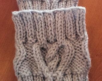 Hand Knit Boot Topper, Boot Cuff, Heart Design