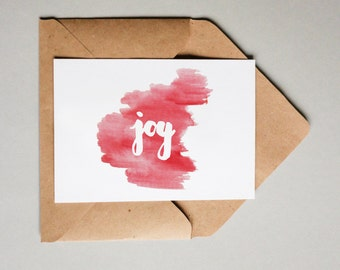 Joy Watercolor // Downloadable and Printable // Digital // Hand Lettered // Greeting Card // Christmas // Holiday