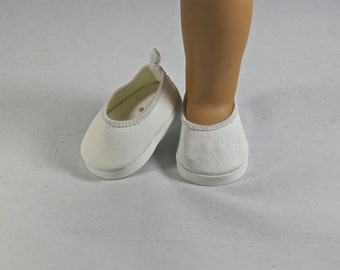 """WHITE """"Leather"""" Ballerina Communion Wedding Flats Shoes with Four Trim OPTIONS Spring  for American Girl or 18 inch doll"""