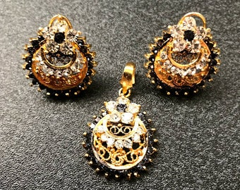 Gold Plated Stylish Earring & Locket Set for Women