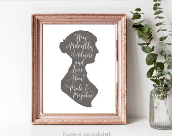 Jane Austen gifts for women / Pride and Prejudice art / Jane Austen lover / Mr Darcy quotes /  Book quote wall /