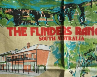 Teatowel australian souvenir linen featuring breeds of the stunning Flinders Ranges in South Australia. In very good condition