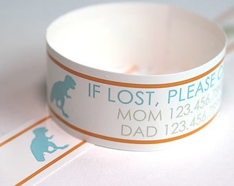 Custom Vinyl Dino ID Bracelets - Personalized ID Bands - #Kids #Travel #Safety