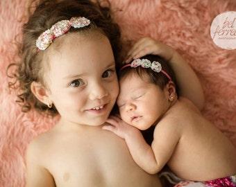 YOU CHOOSE COLOR Shabby Rosette, Flower Headband, Pink Headband, Photography Prop, Headband, Newborn Headband, Baby Headband,