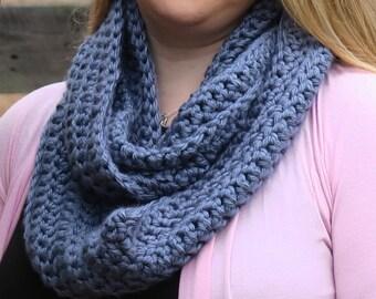 Crochet Infinity Scarf - Blue/Gray - Ready to ship!
