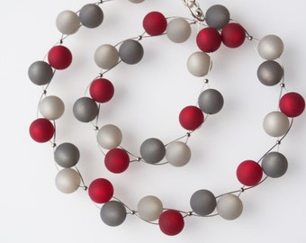 gray red necklace polaris necklace red necklace gray