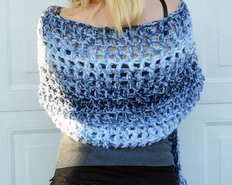 Ocean waves crochet shawl, wrap, scarf