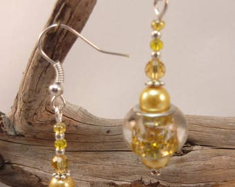 """Silver Earring jewelry """"yellow sequin"""""""