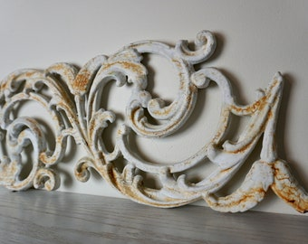 Architectural Salvage, Cast Iron Rustic Scroll Design, Vintage French Detail, Rusty Relic, French Wall Decor, Old Porch Salvage, Old Relic