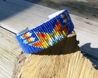 Native American style handmade beaded cuff bracelet
