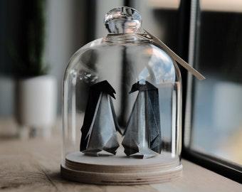 Origami Sculpture Couple Pingouin. Taxidermie. Mariage Origami. Cadeau Anniversaire Mariage. Décoration Noir et Blanc. Cadeau pour elle