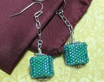 Beaded Cube Earrings Green Cube Earrings Green Cube Dangles Beaded Cube Dangles Cube Dangle Earrings Beadwork Earrings Seed Bead Earrings