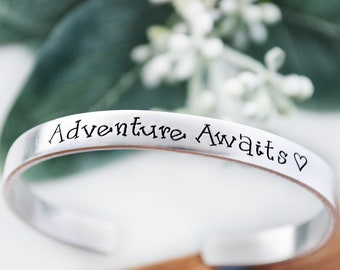 Adventure Awaits Bracelet - College Graduation Gift for Her - Hand Stamped Jewelry - Inspirational Jewelry