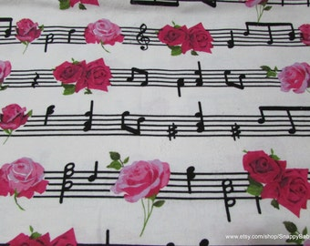 Flannel Fabric - Musical Roses - 1 Yard - 100% Cotton Flannel