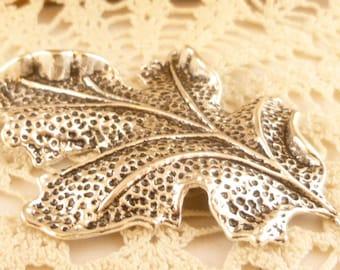 Realistic Life-like 3D Oak Leaf Leaves, Large Leaf Pendant, Antiqued Silver