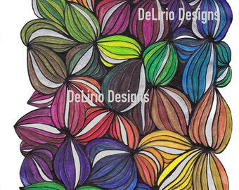 Wild Flowers coloring pages for adults. Hand Drawn Adult Coloring Page Print. download