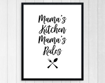 PRINTABLE ART, Mama's Kitchen, Kitchen Wall Art, Kitchen Art, Kitchen Wall Decor, Black and White Art, Kitchen Prints, Kitchen Printable