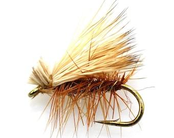 Fishing Flies - 3 Brown Elk Hair Caddis Flies - Sizes 14, 16, 18