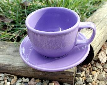 Lilac FiestaWare, Vintage, Fiesta Ware, Purple, Large Soup Mug and Saucer Set, Retired Color, Rare