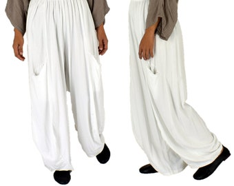 LC700W Trousers Megaweite balloon trousers one size jersey cotton vintage layered Look white gr. 40 42 44 46 48 50 52