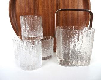 Vintage Hoya Glacier Ice Bucket, Hoya Ice Bark Barware, Mid Century Textural Ice Bucket, Mid Century Barware, Ice Holder