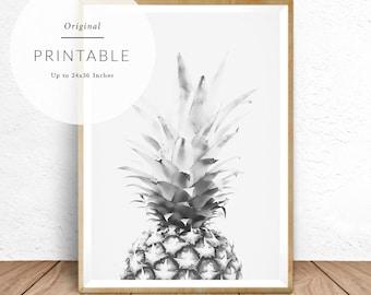 Black and White Wall Art, Pineapple, Photography, Modern Decor, Black and White Poster, Minimalist, Monochrome, Tropical Scandinavian Print