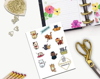 Cute Cats Stickers, All Happy Planner Stickers, Add On Set, Stickers, Printed, Cut, Functional Sticker, Any Planner, Crazy Cat Lady, Pet