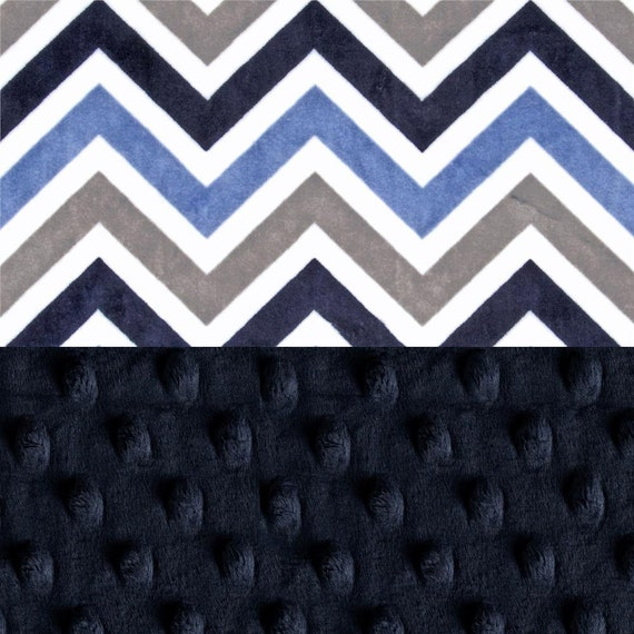 Minky Adult Blanket, Personalized Blanket, Gray Navy Chevron Throw Blanket, Twin Blanket, Chevron Blanket, Gift, Kids Minky Blanket