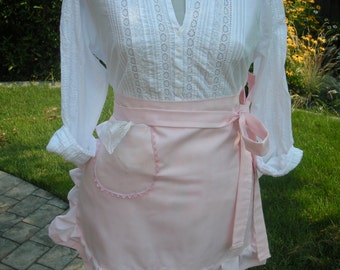 Womens Pink Aprons / Cupcake Pink Aprons / Aprons Worn In Bake Shops / Handmade Pink Half Apron / Annies Attic Aprons / Bridal Aprons