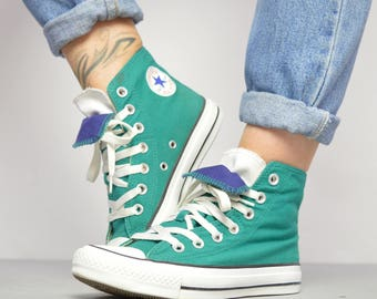Vintage 90s Converse Green with Navy & White Double Tongue Hi-Tops Sneakers Retro Festival Label Size UK 3 EU 35 US Mens 3 Womens 5 cm 22
