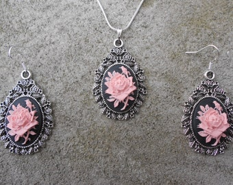 """Stunning 2 Piece Set- Pink Rose on a Black Background Cameo Necklace and Earrings.925 plated 22"""" Chain--- Great Quality"""