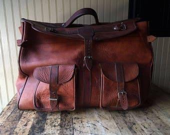 Vintage Leather Weekender Bag Luggage
