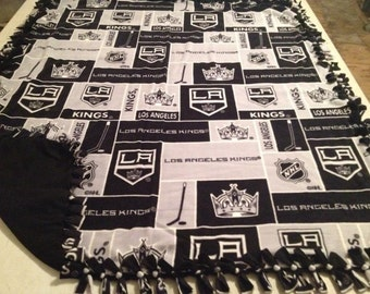 2 yard, hand tied, double sided, fleece LA Kings blanket