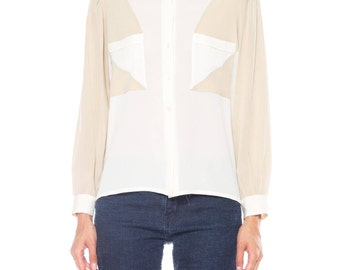 Louis Feraud White And Beige Colorblocked Silk Long Sleeve Top Size: 6