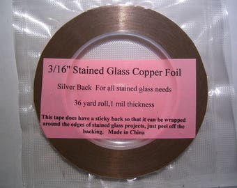 3/16 Silver Back Stained Glass Copper Foil
