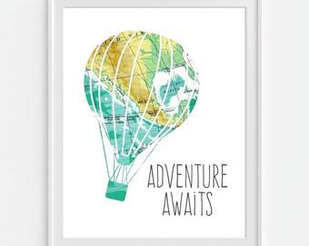 Vintage Map Hot Air Balloon Print 'Adventure Awaits' 5x7, 8X10, 11x14 Inspirational Quote Nursery Baby Print Wall Art, Home Decor Wall Art